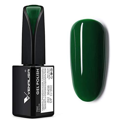 VENALISA 15ml Gel Nail Polish, Emerald Green Color Soak Off UV LED Nail Gel Polish Nail Art Starter Manicure Salon DIY at Home, 0.53 OZ