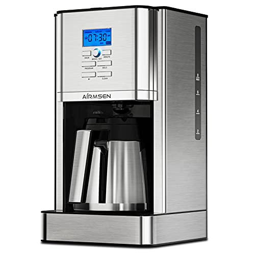 AIRMSEN Programmable Coffee Maker with Thermal Carafe, Stainless Steel Drip Coffee Machines with Permanent Filter Basket, Brew...