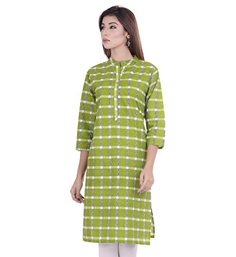 Indian Women's Checks Cotton Kurti …