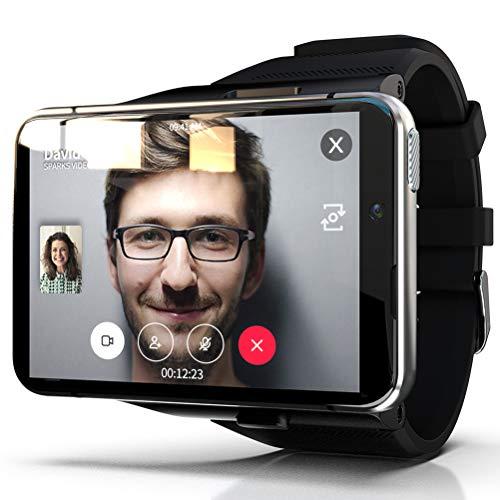 HJKPM MAX Smartwatch, Reloj Inteligente De Alta Configuración con Pantalla Grande 4G + 64G De 2,88 Pulgadas Correa Desmontable Soporte Bluetooth GPS WiFi,Plata