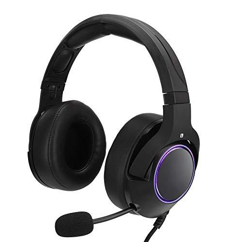 Auriculares para Juegos, Auriculares con Auriculares RGB para Juegos Luminosos montados en la Cabeza con micrófono para PS4, cómodos de Usar(RGB Negro (ZXK90112))