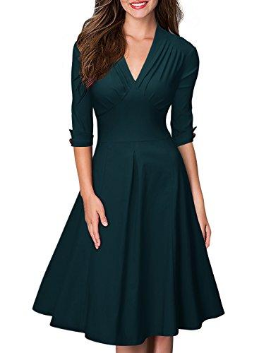 MIUSOL Damen 3/4 Arm Sommer Rockabilly Cocktailkleid Stretch Business Retro 50er Jahre Kleid Gruen S