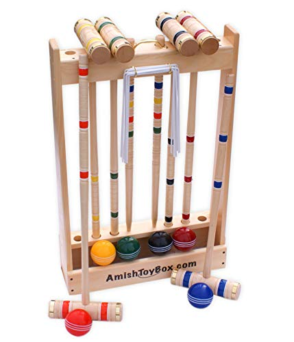 """Amish-Crafted Deluxe Maple-Wood Croquet Game Set, 6 Player Set (32"""" Handles)"""