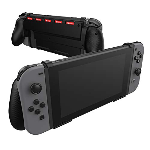 Comfort Grip Case for Nintendo Switch With Game Storage - Protective Cover for use on the Nintendo Switch Console in Handheld GamePad Mode with built in Game Storage - BLACK
