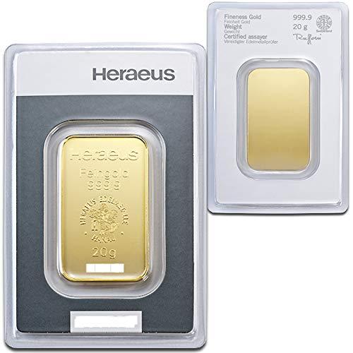 Goldbarren 20 g 20g Gramm Heraeus - Feingold 999.9 im Scheckkartenformat - LBMA Zertifiziert - Anlagegold online kaufen - Edelmetalle als Anlage und Geschenk