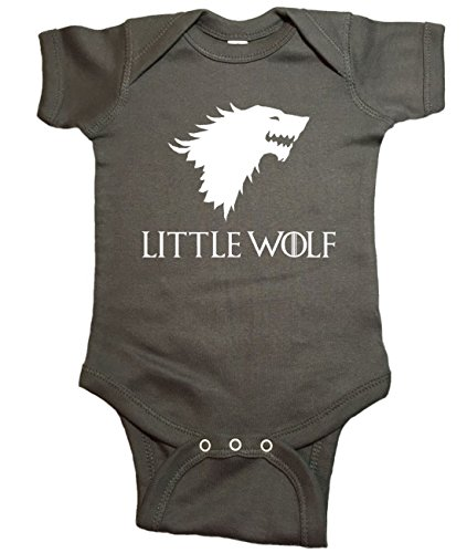 Game of Thrones Baby One Piece Little Wolf Bodysuit (6 Month, Charcoal)