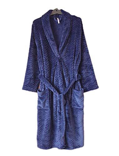 Adelina mannen Nner Warm Comfy pyjama flanel zachte coral kasjmier Fashionable Completi douche robe volwassenen sjaal kraag blauw lange mouwen jurk badjas