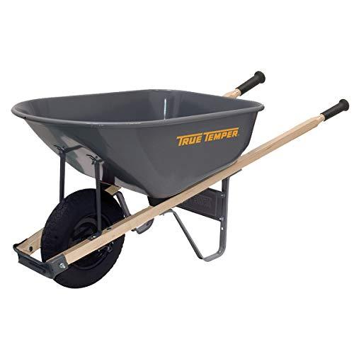 True Temper R6FF25 6 Cu. Ft Steel Tray Wheelbarrow, 6-Cubic Foot Capacity, Gray