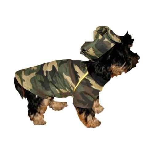 Ikumaal T-Shirt in Army-Look mit Cap Hund Bekleidung für Hunde Hundebekleidung Hundeshirt Hundecape M5 Gr.XS