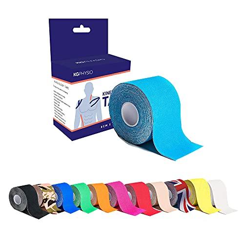 Kg Physio Kinesiologie Tape - KT-Tape in Verschiedenen Farben - Elastisches und Selbstklebendes Sport-Tape am Stück - Ideal für Physiotherapie und Sportler - 5 cm x 5 m