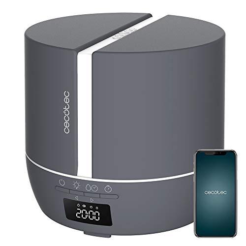Cecotec Difusor de aromas PureAroma 550 Connected Stone. Capacidad 500ml, Pantalla LED, Altavoz, Control por bluetooth, App, Temporizador 12h, 3 Modos de funcionamiento, Cobertura 30m2