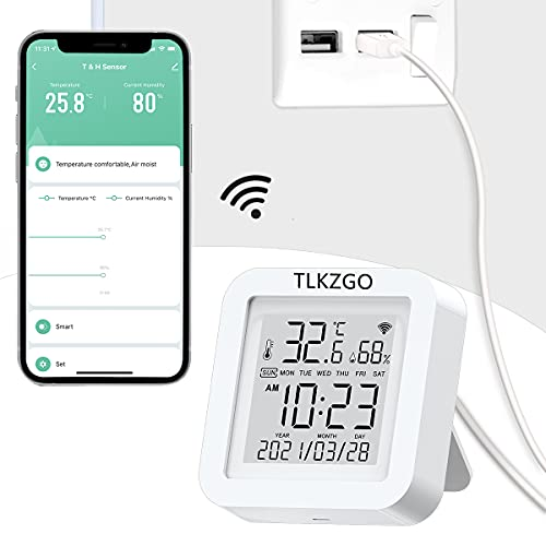 WiFi Temperature Humidity Monitor, Tuya Smart Indoor Hygrometer Thermometer Sensor with LCD Display Support Alexa Google