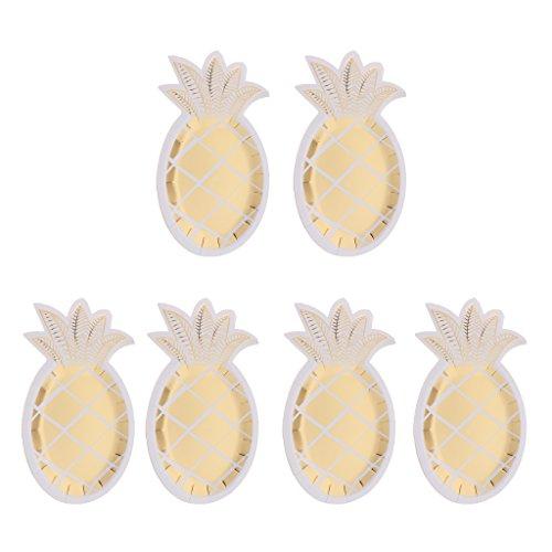 SDENSHI 8 platos de papel con forma de piña de oro brillante para barbacoa, fiestas de verano para bodas