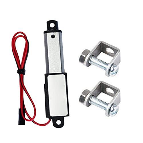 Odoukey-Actuador lineal Accionador Micro lineal Mini eléctrico Impermeable con soportes de montaje 12V 60N Longitud de carrera 50 mm Velocidad 15mm