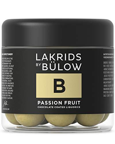 LAKRIDS BY BÜLOW - B - PASSION FRUIT - 125g - Dänische Gourmet Lakritz-Kugeln - Süßer Lakritzkern umhüllt von Weißer Schokolade & Passionsfrucht - Süßigkeiten Geschenk für Lakritze Liebhaber