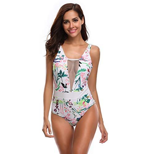 serliy😛Damen Einteilige Verstellbare Träger Rücken Badeanzüge V-Ausschnitt Einfarbige/Gedruckt Bikini Set Sexy Rückenfrei Schwimmanzug Strandmode Swimwear