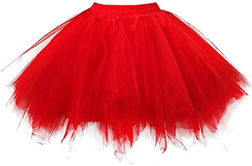 Ksnnrsng Tutu Femme Jupes Années 1950 Court Vintage Tulle Jupon Jupe Ballet Bubble Tutu (Rouge, M)