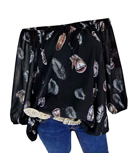 Minetom Damen Sommer Elegant Kurzarm Bluse Mit V-Ausschnitt Blumen Drucken Blusenshirt Oversize Tunika Hemdbluse Tops Oberteil C Schwarz XXL