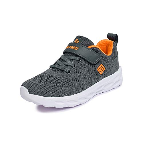 DREAM PAIRS Boys KD18001K Lightweight Breathable Running Athletic Sneakers Shoes Grey Orange, Size 3 M US Little Kid