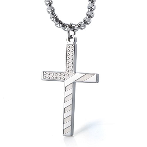 Wolentty Stainless Steel American Flag Cross Necklace Engraved Religious Philippians 4:13 Pendant with 24' Chain