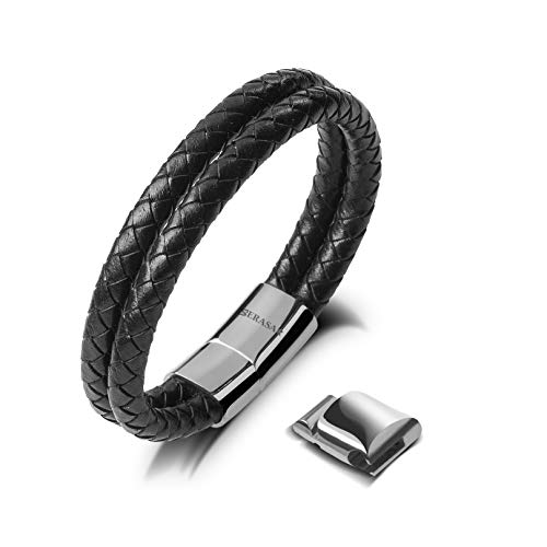 20cm Silver Bracelet Men Gift-Box Genuine-Leather Cowhide Braided Adjust-Able Magnetic-Clasp Multi-Layer Wrap Jewellery-Box Rope Man Mans Male Boy Boys Mens Bracelets Band Jewelry Magnet Accessories