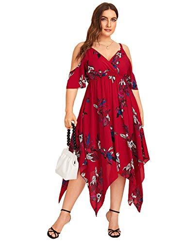 Milumia Women's Plus Size Cold Shoulder Tropical Floral Slit Summer Maxi Dress Red 3X-Large Plus