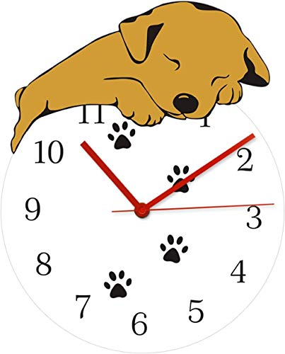 Reloj De Pared Reloj De Pared Digital Funny Sleeping Dog Reloj De Pared Redondo Puppy Taking A Snap Paws Arte De La Pared Decoración Del Hogar Reloj De Pared Silencioso Analógico De Cuarzo Con Pilas A