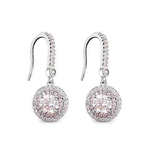 T400 Jewelers S925 Sterling Silber Angelhaken Ohrringe mit Zirkonia,Geschenke für Frauen Mädchen Damen