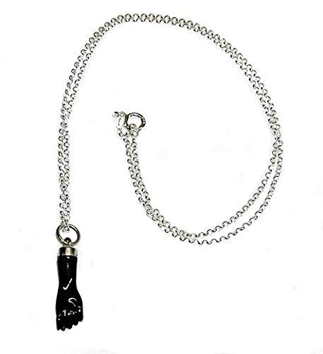 Collar Colgante higa, figa Negra Protectora 20 mm Plata de Ley con Cadena Plata de Ley 40 cm y Estuche
