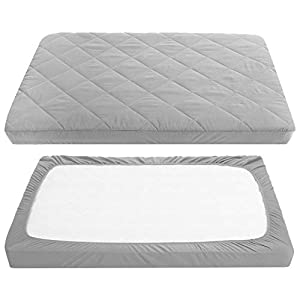 crib bedding and baby bedding tillyou cloudy soft pack and play sheet quilted, breathable thick play yard playpen sheets, 39''×27''×5'' fit mini/portable crib mattress pad pack n play mattress pad, charcoal gray