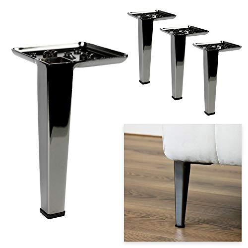 P17 Modelo Romina | Juego de 4 patas + 16 tornillos | níquel negro | altura 17 | patas para sofás, muebles, armarios, sillones | Patas de metal para muebles de diseño moderno y elegante |