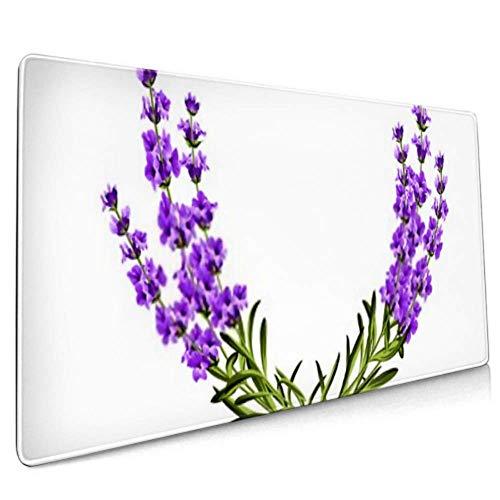 Langer Mousepad Kranz Provence Rahmen Blumen Parfüm Bündel Schreibtisch Pad Tastaturmatte, rutschfeste Basis, wasserdicht, für Arbeit & Spiele, von