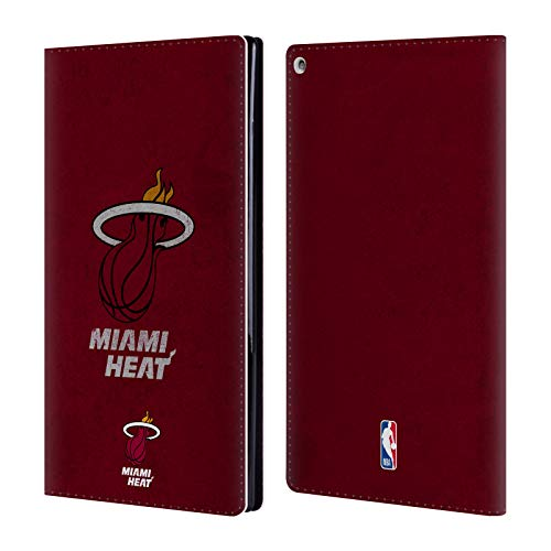 Official NBA Distressed Look Miami Heat Leather Book Wallet Case Cover Compatible For Amazon Fire HD 10