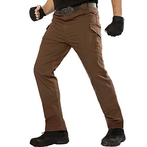 TACT BESUHerren Cargohose Outdoor Militär Tactical Hose Männer Stretch Arbeitshose mit Multi Taschen Braun 34