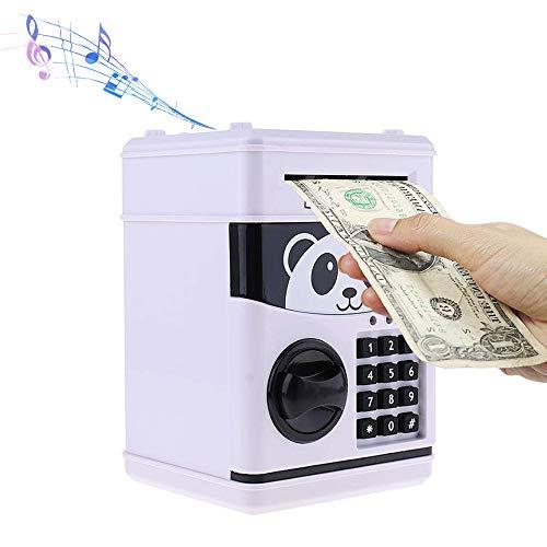 Cartoon Piggy Bank Cash Coin Can Password Electronic Money Bank Safe Saving Box ATM Bank Safe Locks Panda Smart Voice Prompt Money Piggy Box (White)
