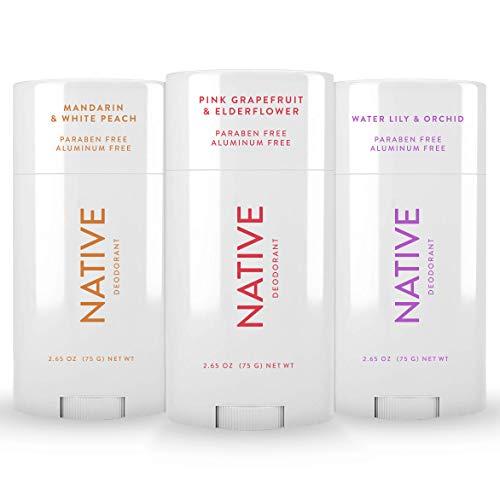 Native Deodorant - Natural Deodorant - 3 Pack Seasonal - Vegan & Cruelty Free - Free of Aluminum & Parabens - Pink Grapefruit & Elderflower, Mandarin & White Peach, Water Lily & Orchid