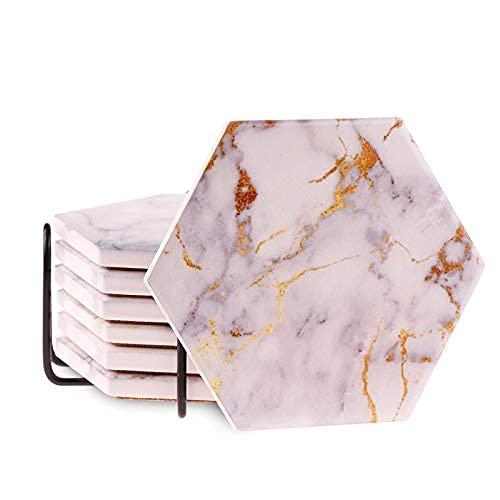 Liseng 6 sottobicchieri per bevande assorbenti con supporto in marmo design sottobicchieri in ceramica super assorbenti per bevande calde e fredde