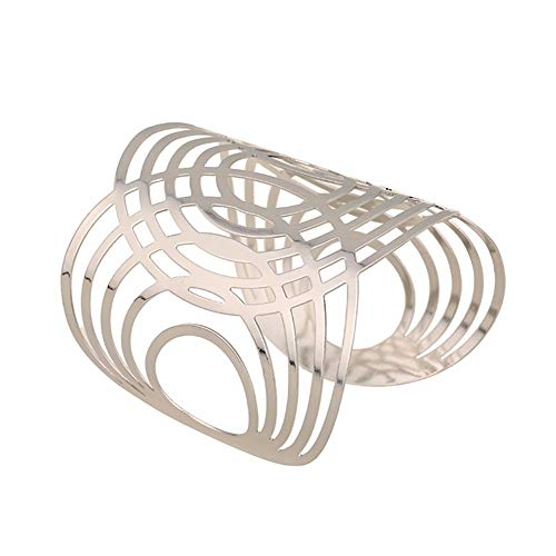 Handgefertigter Armreif aus Metall in silber Armspange Oberarmreif Spange Bangle Vintage Armband (silber)