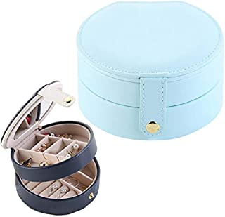 Jewelry 2 Tiers Jewelry Portable Box Makeup Earrings Case Storage Organizer Container(White) Jewelry (Color : Light Blue)