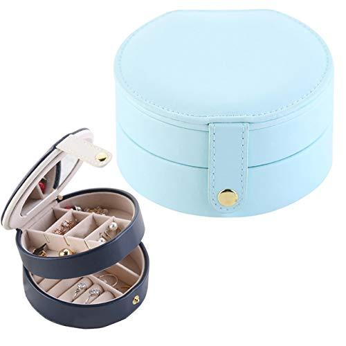 QICHENGBIN Mini Coffret à Bijoux 2 Bijoux Maquillage Boîte Portable Tiers Boucles d'oreilles Cas de Stockage Organisateur conteneur for Bijoux de Stockage (Color : Light Blue)