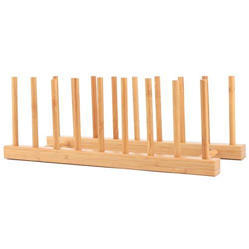Estante para platos, soporte para platos, organizador de bambú para platos, organizador de gabinete de almacenamiento para cocina, para tabla de cortar con tapa de olla y taza