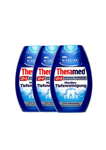 3x Theramed 2 in 1 Zahncreme + Mundspülung Mizellen-Tiefenreinigung 75 ml
