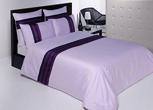 Salomé Prestige Martine - Juego de funda nórdica y 2 fundas de almohada (65 x 65 cm, satén de algodón, 120 hilos/cm2-240 x 260 cm), color lila