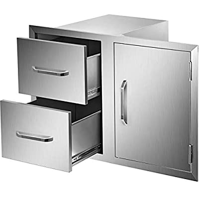 """Mophorn Outdoor Kitchen Door Drawer Combo 35.4"""" W x 23.5"""" H, Access Door/Double Drawers Combo with Stainless Steel Handles, Perfect for Outdoor Kitchen or BBQ Island Patio Grill Station"""
