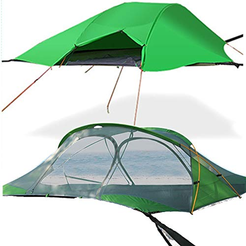 Camping Hammock with Mosquito Net and Rainproof Shade Awning, for Hiking, Mountaineering, Fishing, Wild Survival and Adventure