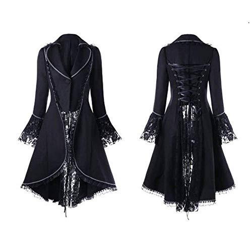 Chaqueta de mujer para esmoquin, steampunk, gótica, retro, terciopelo, estilo barroco, vintage, victoriano, cosplay, trenchat, manga larga, cintura y espalda, 1 negro, XXL