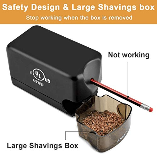 AFMAT Electric Pencil Sharpener Heavy Duty, Classroom Pencil Sharpener for 6.5-8mm No.2/Colored Pencils, UL Listed Industrial Pencil Sharpener w/Stronger Helical Blade, Best School Pencil Sharpener Photo #3