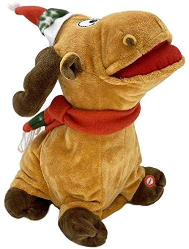 Electric Christmas Toy Stuffed Animal Plush Toy Tooty Christmas Reindeer Walks Shakes Tail with Music Moving Funny New Year Festive Party Supplies