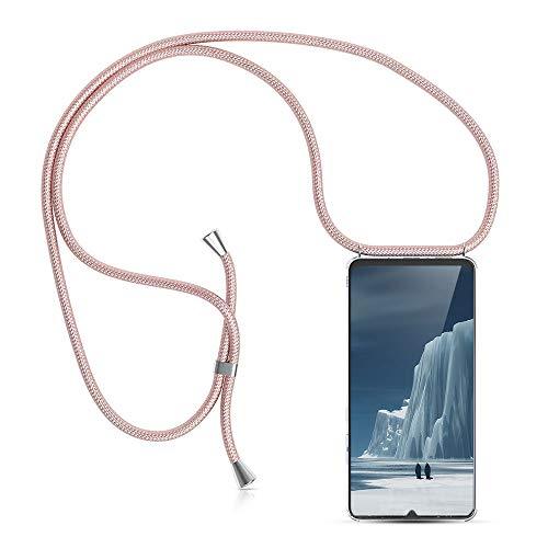 Carcasa de movil con Cuerda para Colgar Huawei Mate 20 Lite -Funda para iPhone/Samsung/Huawei con Correa Colgante para Llevar en el Cuello -Hecho a Mano en Berlin[Transparente TPU Case/Oro rosa]