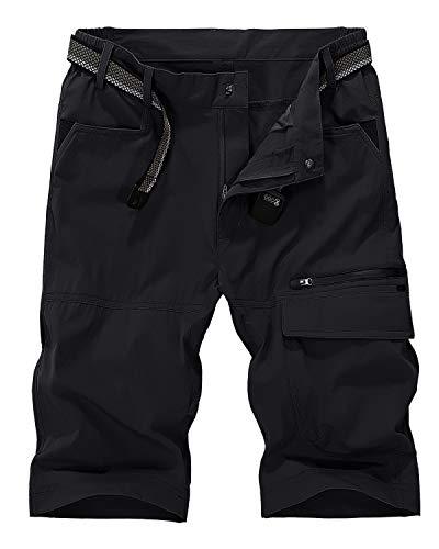 EKLENTSON Mens Cargo Shorts Mountain Bike Shorts Summer Shorts Casual Shorts Hiking Shorts Men Fishing Shorts Men Black